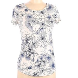 GAP Luxe Floral Shirt Blue White Size XS